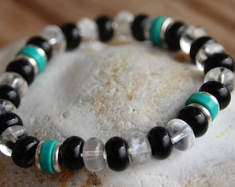 Bracelet with quartz and agate semi-precious beads