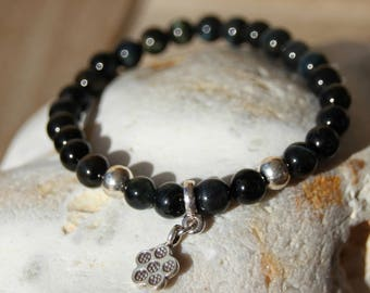 Bracelet with charm and Hawk Eye beads gemstone