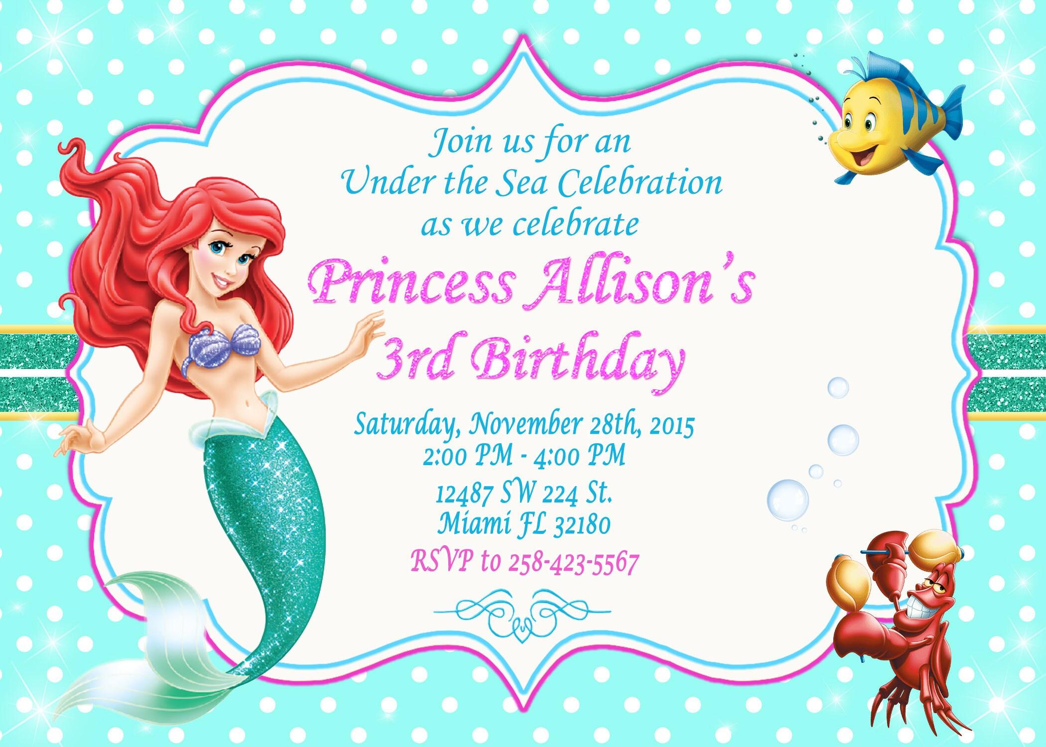 Little Mermaid Invitation Ariel Invitation Little Mermaid Birthday ...
