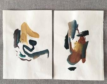 Watercolor Abstract, No. 3 & 4