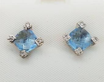 Vintage 6mm Aquamarine CZ & Sterling Silver Stud Earrings