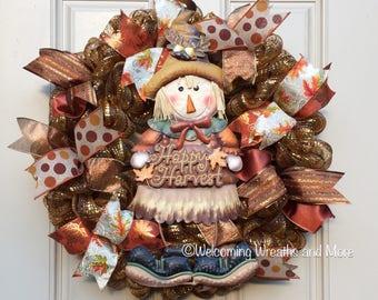 Fall Wreath, Scarecrow Wreath, Autumn Wreath, Fall Mesh Wreath, Happy Harvest Wreath, Autumn Mesh Wreath, Harvest Door Decor