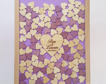 Personalised Wooden-colour Wedding shadow Drop Box Guest Book 100hearts Birthday