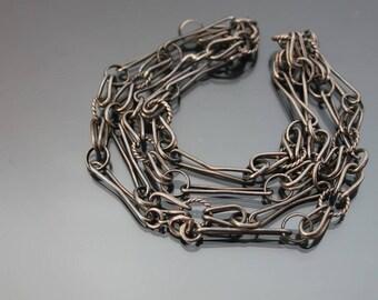 Modernist Brutalist Chain 835 Silver Black Necklace. Vintage Scandinavian Modernism