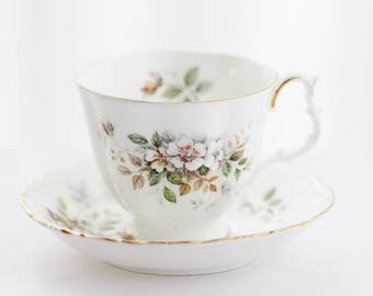 Royal Albert's Haworth, TEACUP and saucer, crispy white porcelain teacup, decorated with subtile pale colored flowers, large size, c1980s