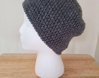 Large crochet beanie-gray