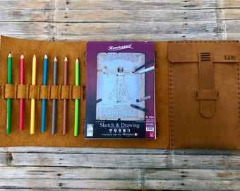Small Leather Sketchbook // Custom Sketchbook // Small Refillable Sketchbook // Small Drawing Book // Small Leather Drawing Book