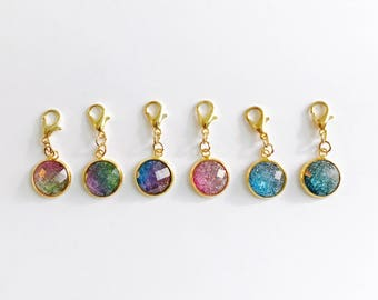 Set of 6 Ombre Glitter Planner Charms