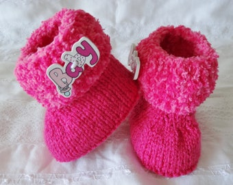 Baby boots / booties stuffed wool pink baby 0-3 months