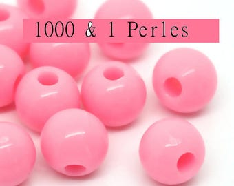 100 round beads Pink 8mm hole 2 mm - beads-