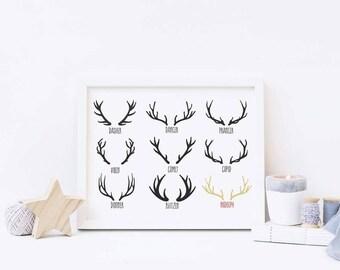 Antler Print - Reindeer Print - Christmas Print - Rudolph Print