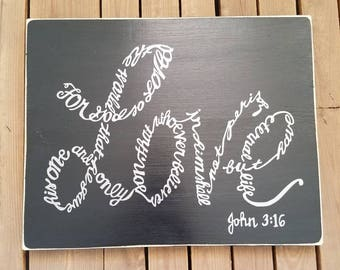 For God so Loved the World John 3:16 Wood Sign with vinyl lettering, Religious Sayings, Scripture Wood Sign, Bible quotes