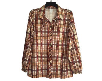 Vintage 70's Women's Polyester Brown Plaid Button-Up Shirt Size 15/16 Medium/Large FREE SHIPPING!