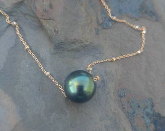 Blue Tahitian Pearl 11mm Floating Pearl Necklace
