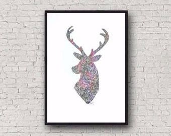 Real Distressed Foil Zentangle Rainbow Stag Deer Paper Cut Out A4 Art Print