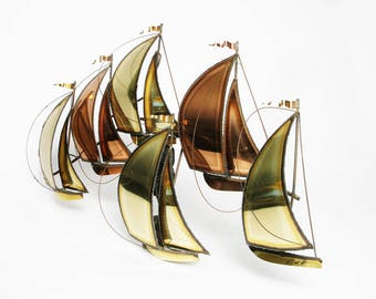 vintage abstract metal sailboat wall sculpture Jere style art ocean home decor