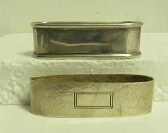 2 Vintage Sterling Silver Napkin Rings.