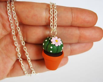Cactus Succulent necklace in fimo-pink flower-collection CactusLovers