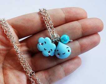 Long necklace cloud and Drop in fimo-Kawaii Collection Autumn
