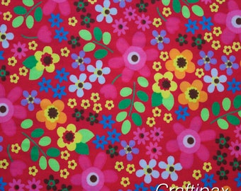 Cotton Fabric - Rose and Hubble -Flower Power Cerise - Quilting, Sewing, Patchwork - UK Seller - Fat Quarter, Half Metre, Metre