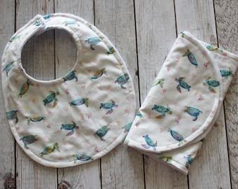 Sea Turtle Baby Bib and Burp Cloth, Bib and Burp Cloth Gift Set
