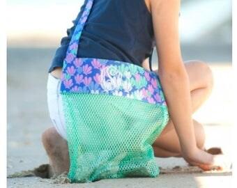 Mesh beach tote, sea shell bag, monogrammed mesh tote
