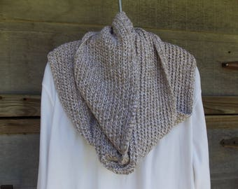 "INFINITY SCARF  UNISEX Taupe and White Tweed, Round 76""  Height 7"" Double Strand Crochet"
