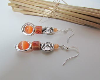 Earring hook and silver metal bead - cat's eye and orange ceramic - 5.8 cm - r75 glass bead