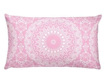Pink Pillows, Pink and White Mandala Design Rectangle Cushion, Decorative Throw Pillow, 20x12 Lumbar Pillow