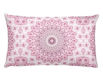Lumbar Pillow Pink, Decorative Pillows, 20x12 Throw Pillows, Pink and Gray Mandala Pillow
