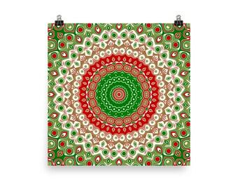 Christmas Wall Art, Holiday Wall Decor, Red and Green Holiday Mandala Art, Christmas Poster Prints