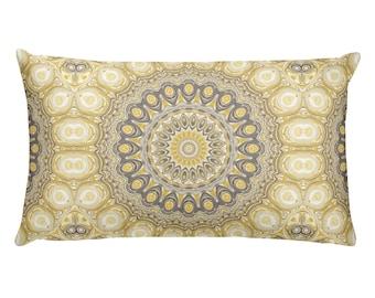 Funky Pillows, Mustard Yellow and Gray Decor, Lumbar Throw Pillow 20x12 Rectangle Cushion