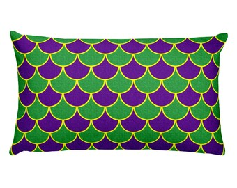 Mardi Gras Party Decorations, Mardi Gras Mermaid Pillow in Purple and Green and Gold