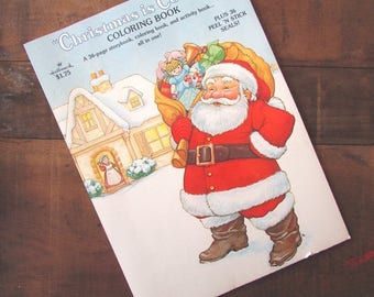 Christmas Coloring Book With Stickers Vintage NOS Hallmark Is Coming