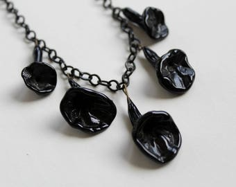 Vintage Lucite Necklace with Black Molded Glass Flowers - 1930s 1940s Statement Necklace - Gothic Jewelry