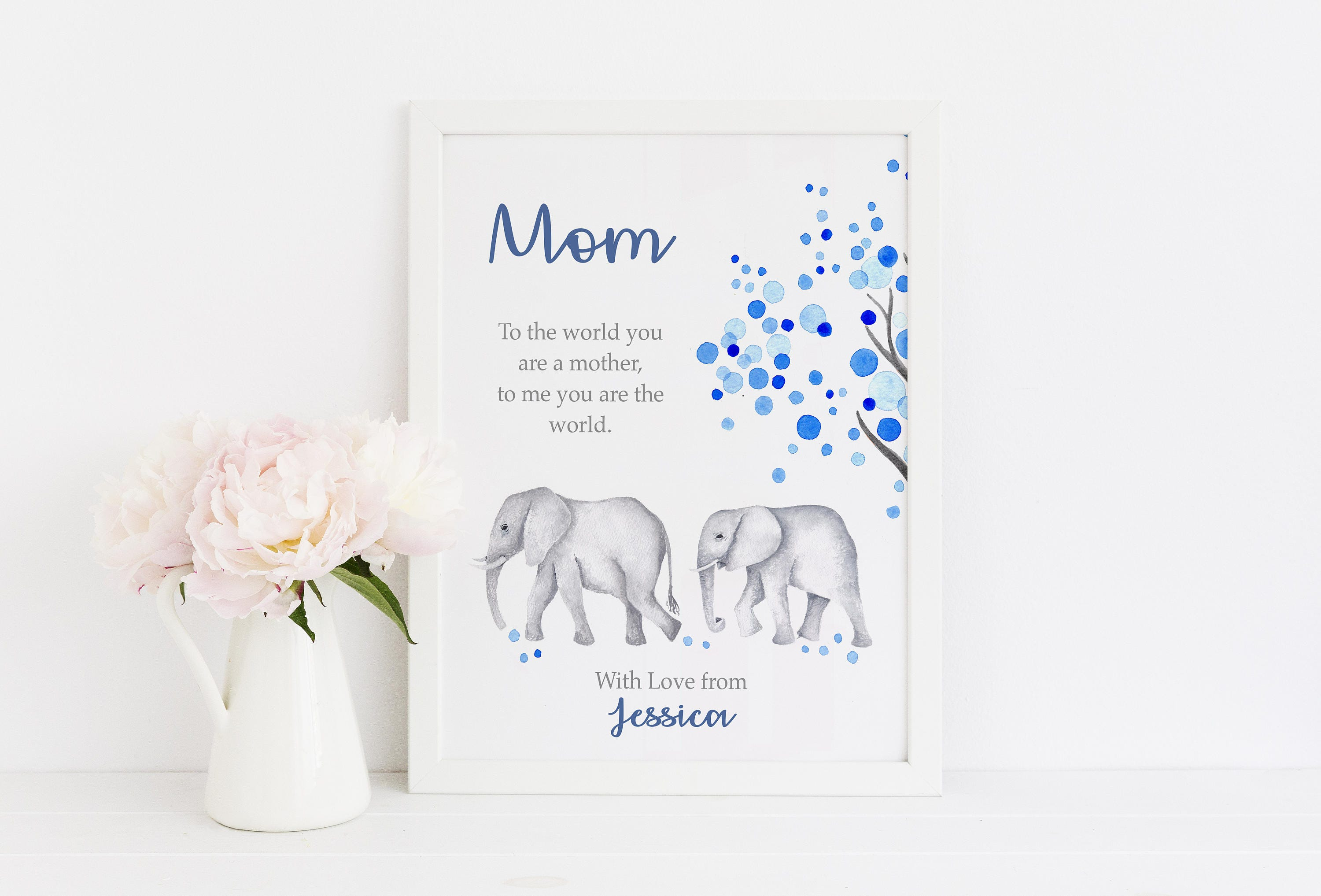 Personalized christmas or birthday gift for mom elephant