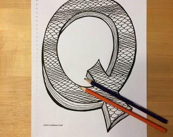 Letter q coloring Etsy