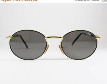 Vintage 80s Black Gold Round Men's Sunglasses, Concert Mod:2339, Metal Black Gold Hardware Round Rimed Men's Sunglasses made in Italy, NOS