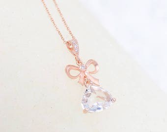 Dainty Bridal Necklace,Nella, knot Bridal Necklace, Bridal Jewelry, Wedding jewellery, Rose Gold Bridal necklace crystal, Bridal accessories
