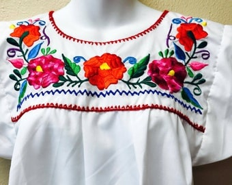 Medium Adult Embroidered Blouse from Mexican Craftsmen/ Handmade Mexican Embroidery, Ethnic Blouse,Mexican Shirt