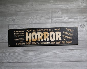 Drive-In Theater Wooden Horror Sign | Carved | Movies | Box Office | Dusk 'till Dawn | Spiders | Bats | Bela Lugosi | Boris Karloff | Retro