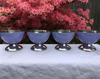 Vintage Mid Century Lilac Oneida Metal Dessert Bowls Set of 4 Cottage Style Ice Cream Pudding