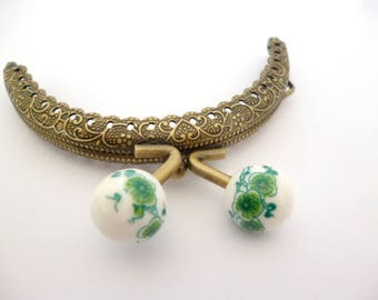 """Bronze Purse Frame _AT03655478/8427_Frames_ Brass purse / Green flowers of 85 mm / 3,34"""" _ pack 1 pcs"""