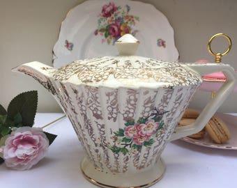 Rare & Unusual Gold Chintz Vintage Sadler Teapot