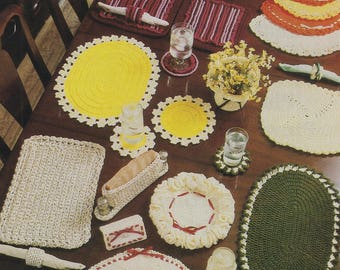 Table Treasures, Annie's Attic Crochet Pattern Booklet 87P33 Place Settings Coaster Decor & More