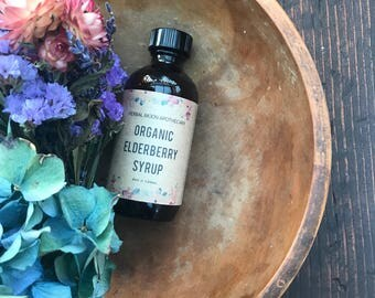 Organic Elderberry Syrup •  herbal remedy for cold and flu • all natural • for both prevention and as acute remedy