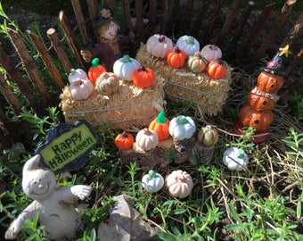 Miniature Fairy Garden Pumpkins, Miniature Pumpkins, Fall Fairy Garden Pumpkinsin White, Orange, Tan, and Orange with Green