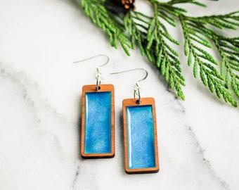 Sky Earrings, Nature Earrings, Blue Sky Earrings, Blue Earrings, Minimalist Earrings, Modern Earrings, Wood Earrings, Nature Jewelry