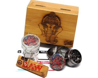 """Elephant Laser Etched Sacred Geometry Stash Box, 1.6"""" Zinc Alloy Grinder, Small Stash Jar - ALL IN ONE Box Package Item# WBCS111617-4"""