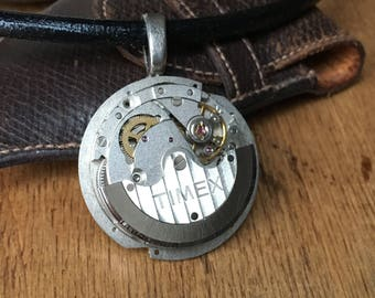 Men necklace, Steampunk necklace, black leather necklace, silver watch movement, steampunk jewelry, Men Jewelry